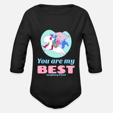 Emoticon Funny unicorn motif: You are my best friend. - Organic Long-Sleeved Baby Bodysuit
