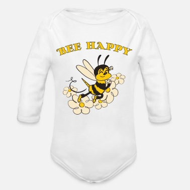Bee Happy Cute Bee For Kids For Women For Men Be H - Organic Long-Sleeved Baby Bodysuit