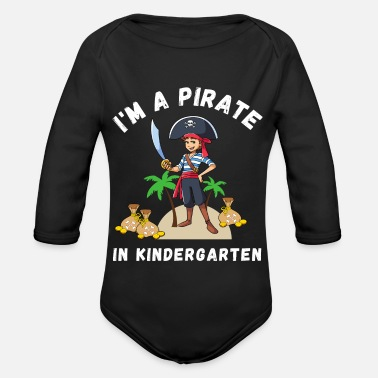 Pirate Flag I'm a pirate in kindergarten motive and design - Organic Long-Sleeved Baby Bodysuit