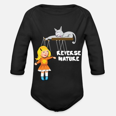 Slave Female Cat plays with a female slave as a puppet - Organic Long-Sleeved Baby Bodysuit