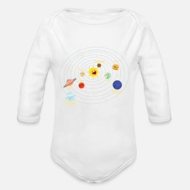 Solar Primary school solar system in space gift - Organic Long-Sleeved Baby Bodysuit