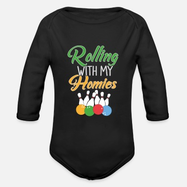 Bowling Skittles with my homies - Organic Long-Sleeved Baby Bodysuit