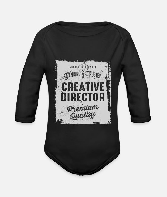 Occupation Baby Bodysuits - Creative Director - Organic Long-Sleeved Baby Bodysuit black