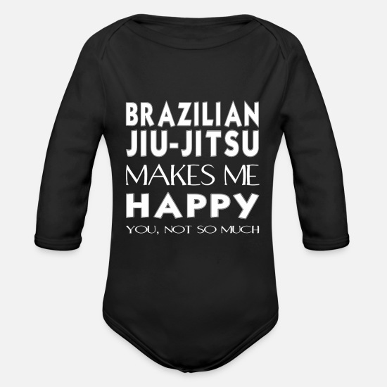 Jitsu Baby Clothes - Brazilian jiu-jitsu - Brazilian jiu-jitsu makes me - Organic Long-Sleeved Baby Bodysuit black