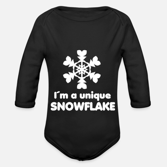 Birthday Baby Clothes - Unique - Im a unique snowflake - Organic Long-Sleeved Baby Bodysuit black