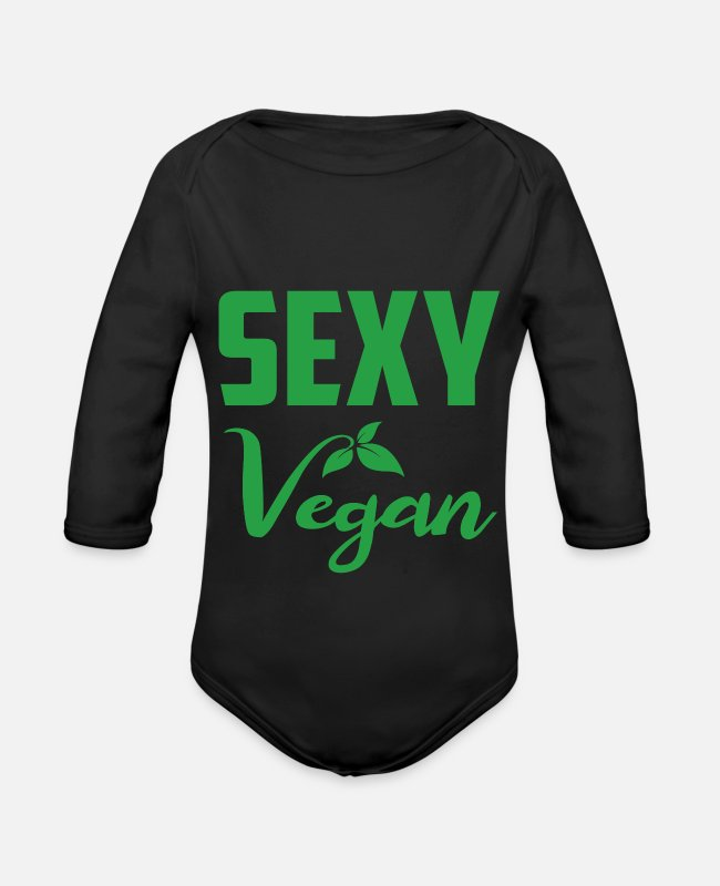 Bless You Baby Bodysuits - sexy vegan - Organic Long-Sleeved Baby Bodysuit black