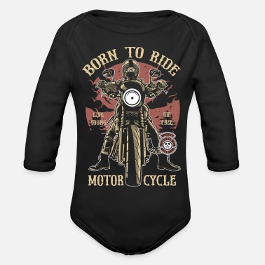 Motor Born To Ride Motorcycle (0010) - Baby bio-rompertje met lange mouwen
