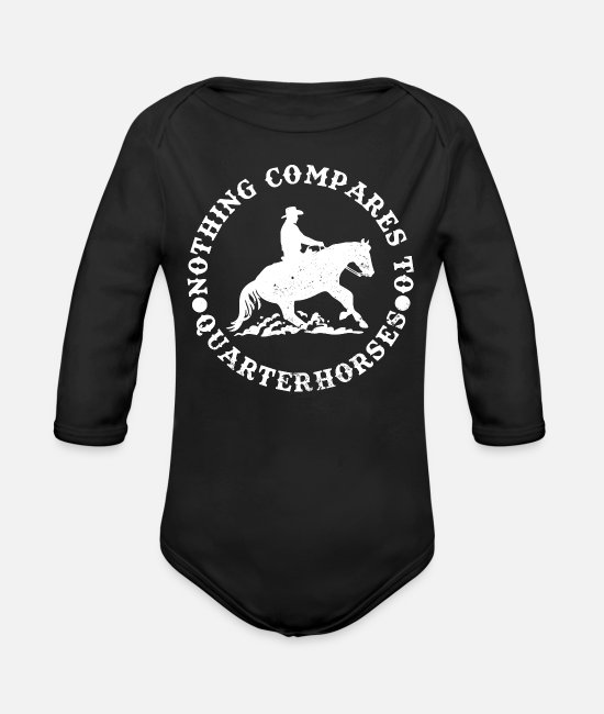 Ride A Horse Baby Bodysuits - Western riding - Organic Long-Sleeved Baby Bodysuit black
