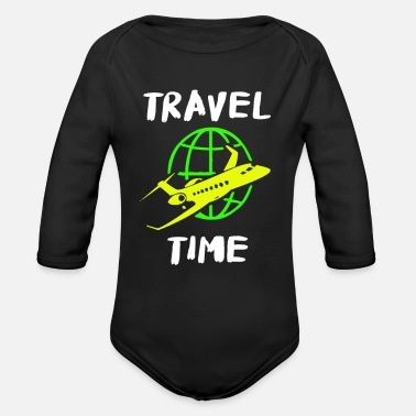 Globe Travel plane around the world world travel - Organic Long-Sleeved Baby Bodysuit