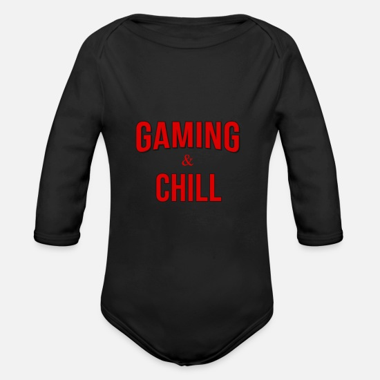 Birthday Baby Clothes - Gaming Gaming Gaming and Chill - Organic Long-Sleeved Baby Bodysuit black
