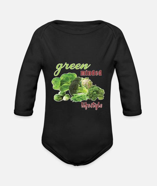 Bless You Baby Bodysuits - Green Vegetable Salad Vegetarian Vegan - Organic Long-Sleeved Baby Bodysuit black