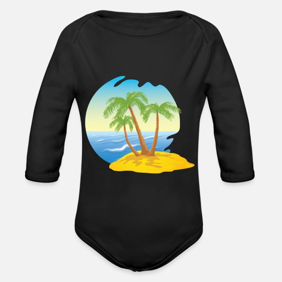 Island Baby Clothes - island - Organic Long-Sleeved Baby Bodysuit black