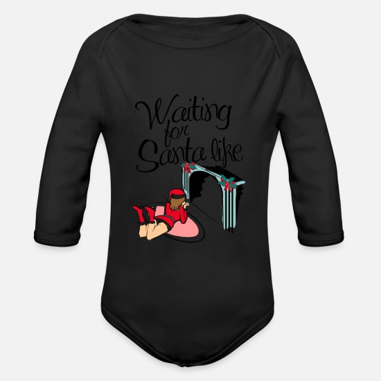 Christ Baby Clothes - Waiting for Santa ... - Organic Long-Sleeved Baby Bodysuit black