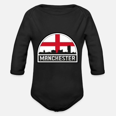 Cute Country T Manchester England Skyline Silhouette Englische Flagge - Baby Bio Langarmbody
