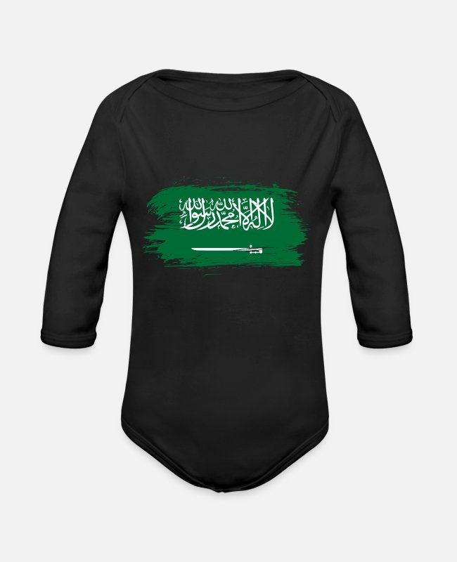 Saudi Arabia Baby Bodysuits - Saudi Arabia flag - Organic Long-Sleeved Baby Bodysuit black