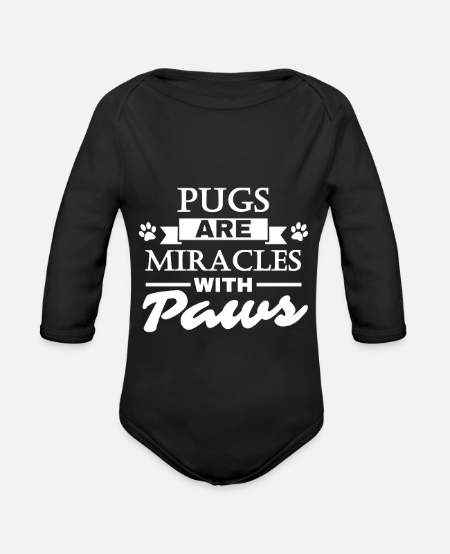 Miracle Baby Bodysuits - Pugs Are Miracles With Paws - Dog Pug Gift - Organic Long-Sleeved Baby Bodysuit black