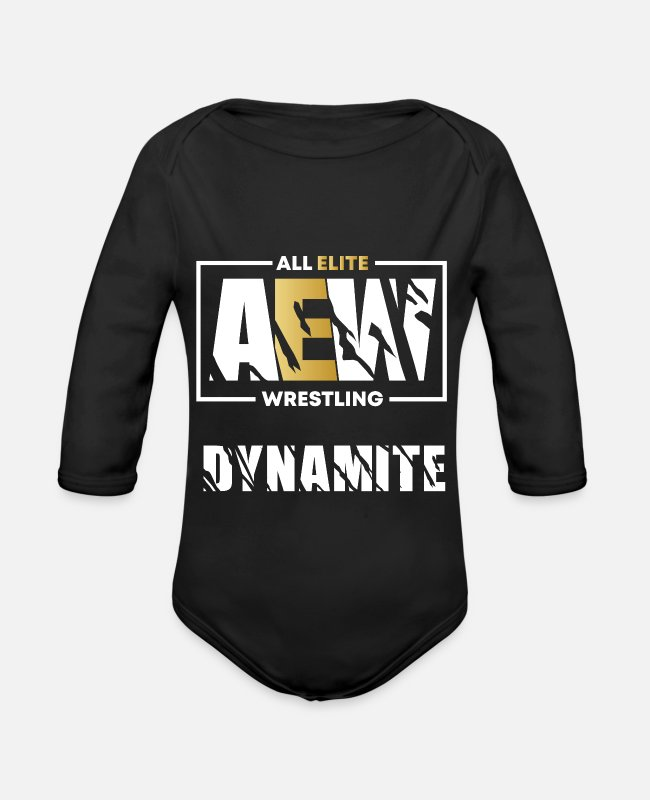 Explosion Baby Bodysuits - AEW Dynamite - Organic Long-Sleeved Baby Bodysuit black