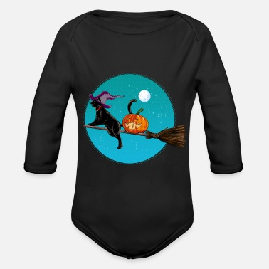 Halloween Halloween Witch Cat - Organic Long-Sleeved Baby Bodysuit