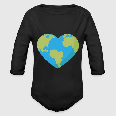 World in Heart Shape - Vauvan pitkähihainen luomu-body