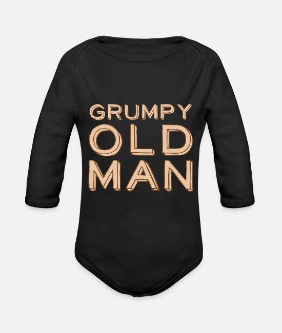 Old Baby Bodysuits - Grumpy old man - Organic Long-Sleeved Baby Bodysuit black