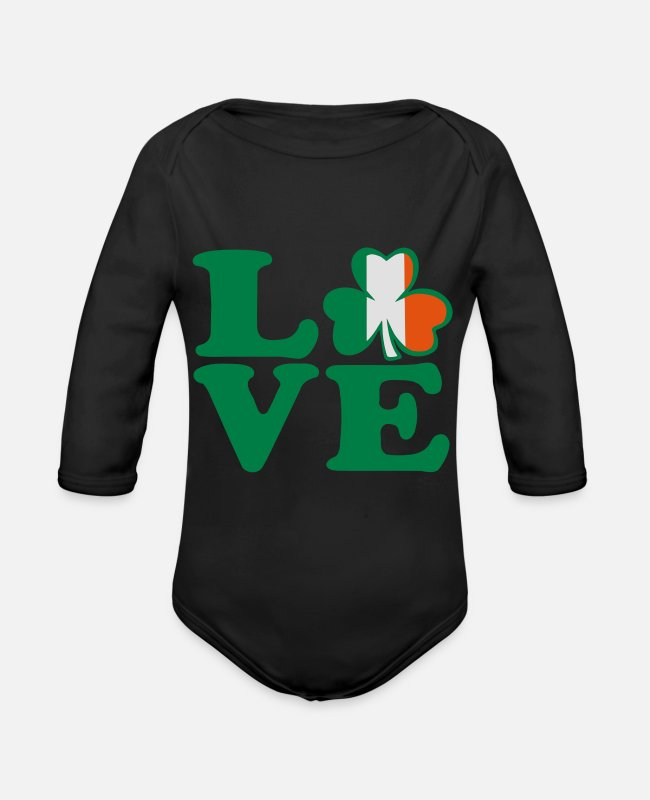 Kiss My Irish Ass I Am 100% Irish Saint Patty Day Lucky Shamrock Design For St Patricks Day Clothes Baby Bodysuits - ♥ټ☘I Love Irish-Ireland-Happy St Patty's Day☘ټ♥ - Organic Long-Sleeved Baby Bodysuit black