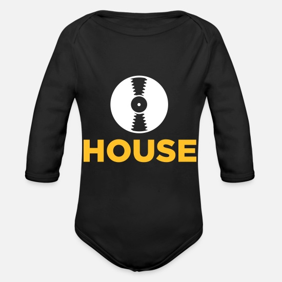 Music Baby Clothes - House Music! - Organic Long-Sleeved Baby Bodysuit black