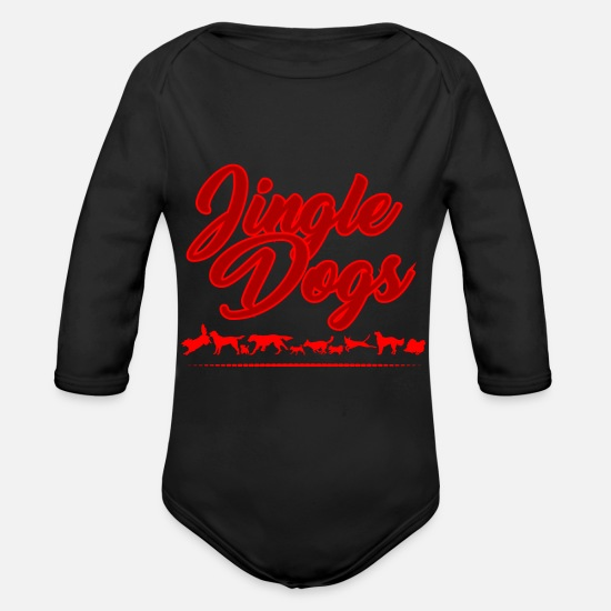 Mulled Wine Baby Clothes - JINGLE DOGS - DOG - BELLS - SNOW - CHRISTMAS - Organic Long-Sleeved Baby Bodysuit black