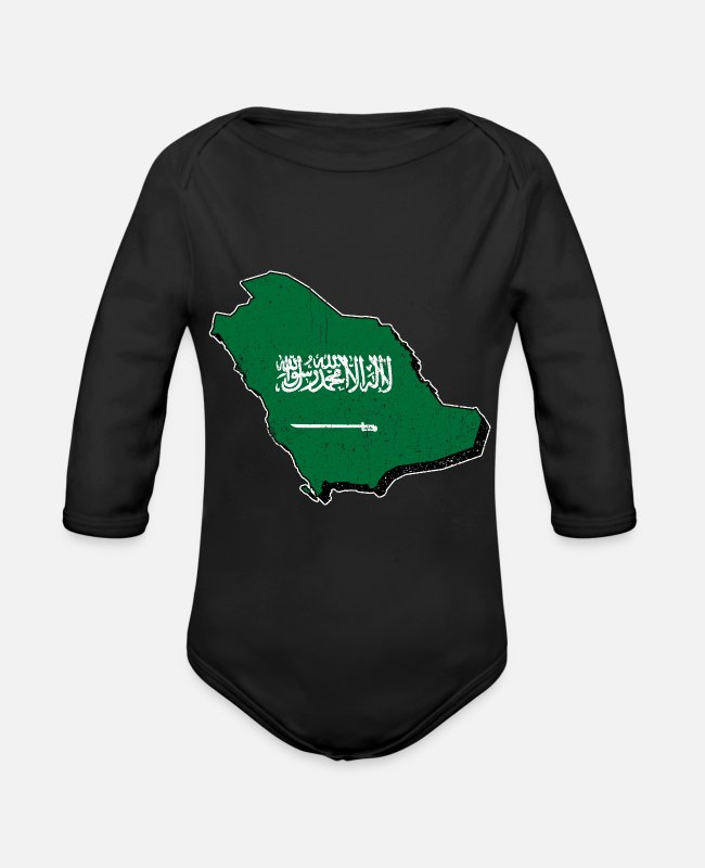 Saudi Arabia Baby Bodysuits - Saudi Arabia map with flag - Organic Long-Sleeved Baby Bodysuit black