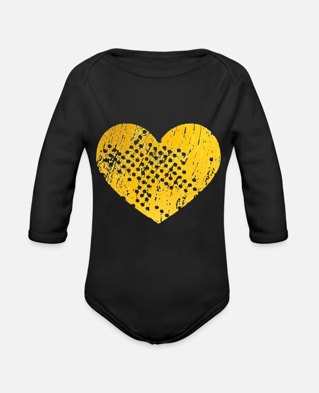 Corazon Baby Bodysuits - Heart with holes (yellow) - Organic Long-Sleeved Baby Bodysuit black