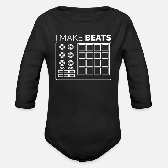 Rap Baby Clothes - I make beats! Musician, Hip-Hop and DJ Design - Organic Long-Sleeved Baby Bodysuit black