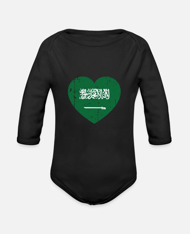 Proud Baby Bodysuits - Saudi Arabia heart - Organic Long-Sleeved Baby Bodysuit black