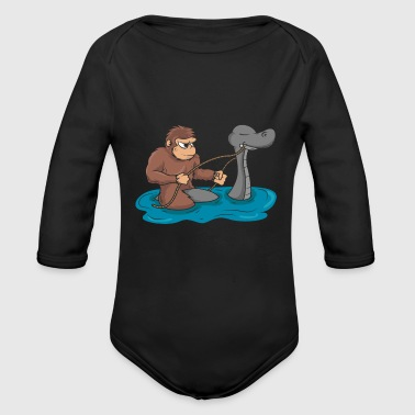 Bigfoot is riding Nessie Loch Ness Sasquatch gift - Organic Longsleeve Baby Bodysuit