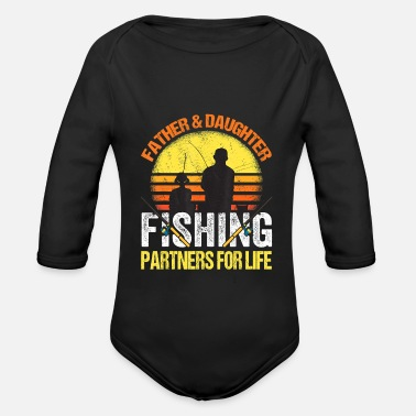 Fishing Fisherman Dad and Daughter Fishing Partners - Organic Long-Sleeved Baby Bodysuit