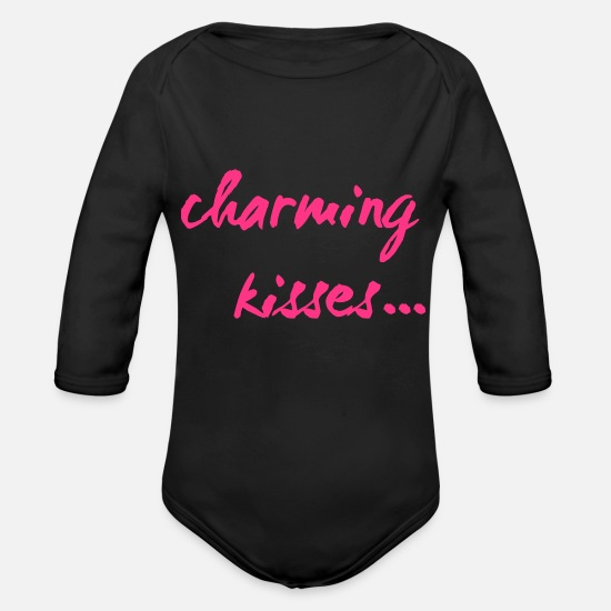 Love Baby Clothes - charming kisses kiss love 2reborn - Organic Long-Sleeved Baby Bodysuit black