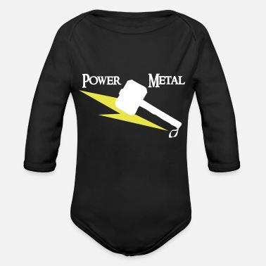 Power Metal Power Metal with hammer and lightning - Organic Long-Sleeved Baby Bodysuit