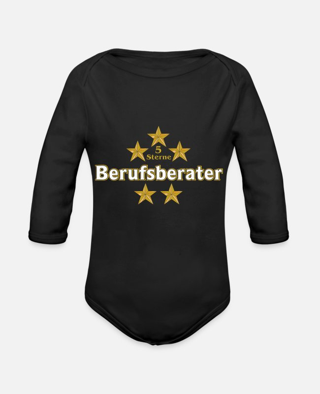Office Baby Bodysuits - 5 star career counselors - Organic Long-Sleeved Baby Bodysuit black