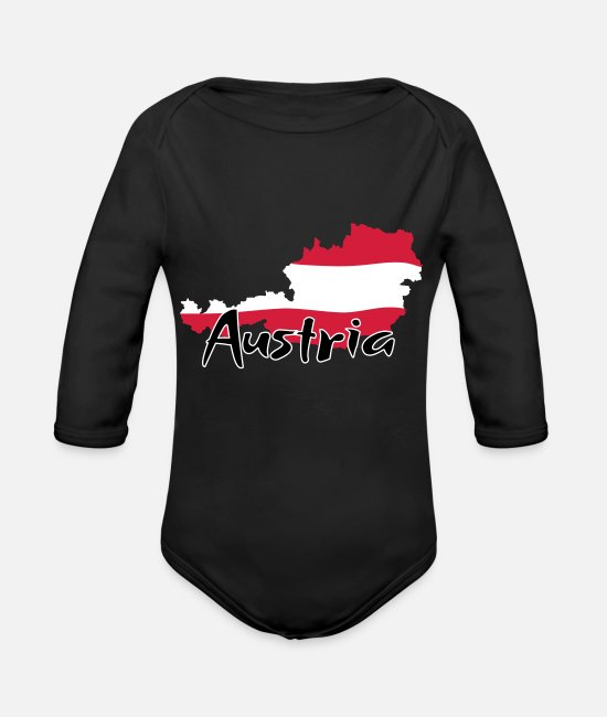 Mountains Baby Bodysuits - Austria - Organic Long-Sleeved Baby Bodysuit black