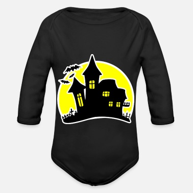 House Halloween House Haunted House - Langærmet babybody, økologisk bomuld
