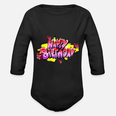 Happy Birthday GRAFFITI HAPPY BIRTHDAY STAMPABILE SU TUTTO - Body ecologico per neonato a manica lunga