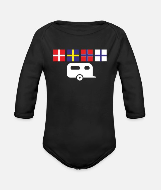Tent Baby Bodysuits - Camping holiday in Scandinavia in the caravan - Organic Long-Sleeved Baby Bodysuit black
