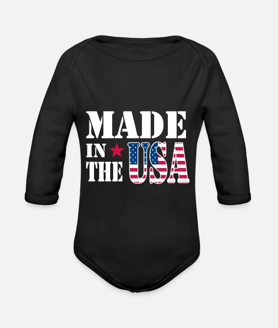 Continent Baby Clothes - Made in USA America Stars and Stripes - Organic Long-Sleeved Baby Bodysuit black
