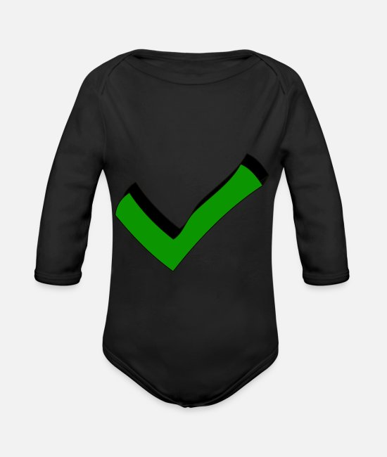 Check Mark Baby Bodysuits - Hook on it - Organic Long-Sleeved Baby Bodysuit black