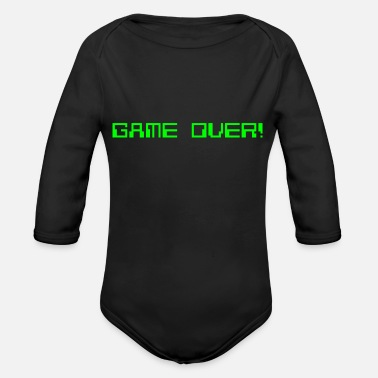 Noob GAME OVER OLD GREEN - Organic Long-Sleeved Baby Bodysuit