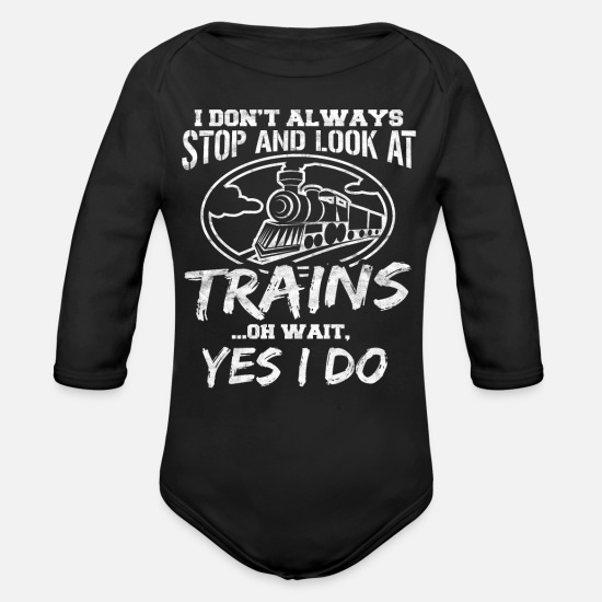Trains Baby Clothes - Trains - Organic Long-Sleeved Baby Bodysuit black