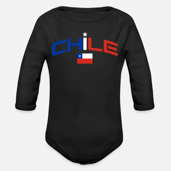 South America Baby Clothes - Chile - Organic Long-Sleeved Baby Bodysuit black