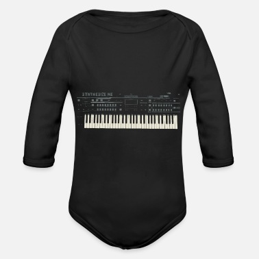 Synthesizer Synthesize me Synthesizer Synthie pop gift - Organic Long-Sleeved Baby Bodysuit
