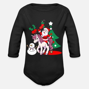 Funny Christmas Santa Unicorn Santa Claus Christmas gift - Organic Long-Sleeved Baby Bodysuit