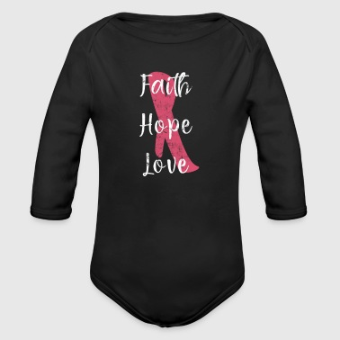 Faith Hope Love Breast Cancer Awareness Ribbon - Organic Longsleeve Baby Bodysuit