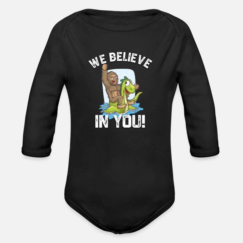 Loch Ness Monster Baby Clothing - Bigfoot Riding Nessie We Believe in You Loch Ness - Longsleeved-Sleeved Baby Bodysuit black