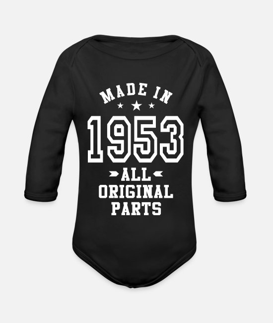 Made In Usa Baby Clothes - Made In 1953 - Organic Long-Sleeved Baby Bodysuit black